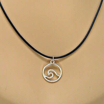 Necklace Silver Ocean Wave Pendant on 19.5-21