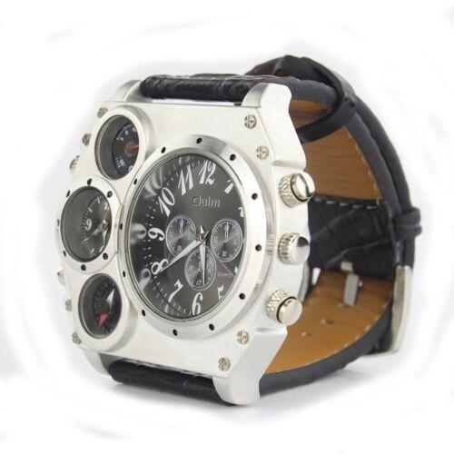 $10.95 - Luxury SPORT Army Military Mens Stainless Steel Leather Strap Quartz Wrist Watch