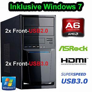WINDOWS 7 ELITE Einsteiger Computer AMD A6 5400K 2x 3,6GHz 8GB 1TB PC HD7540D