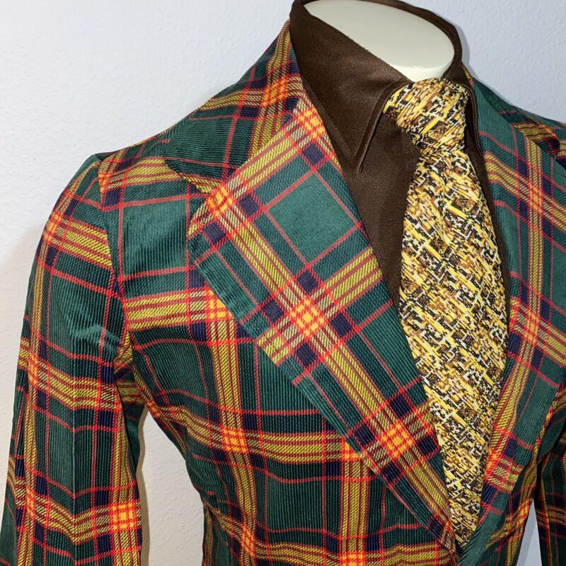 NEW Vtg 60s 70s Green PLAID Cord CORDUROY Mens 38 Sport Coat Suit Jacket Blazer