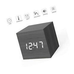 MiCar Digital Alarm Clock, Wood LED Light Mini Modern Cube Desk Alarm Clock D...
