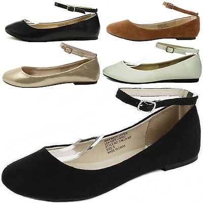 AlpineSwiss Calla Womens Ballet Flats Ankle Strap Shoe Classic Ballerina Slipper