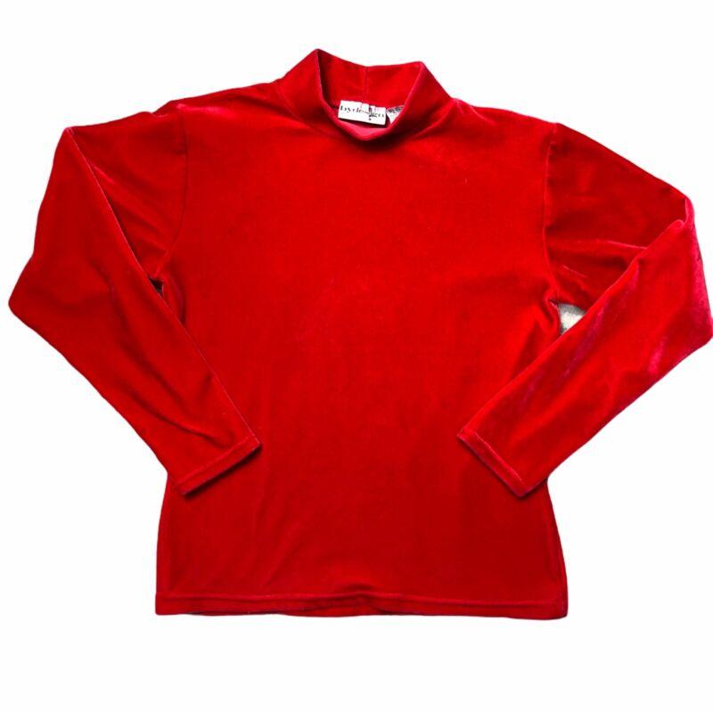 Vintage 90s Velvet Velour Shirt Grunge Goth Rave Hot Red Pink Long Sleeve Rare