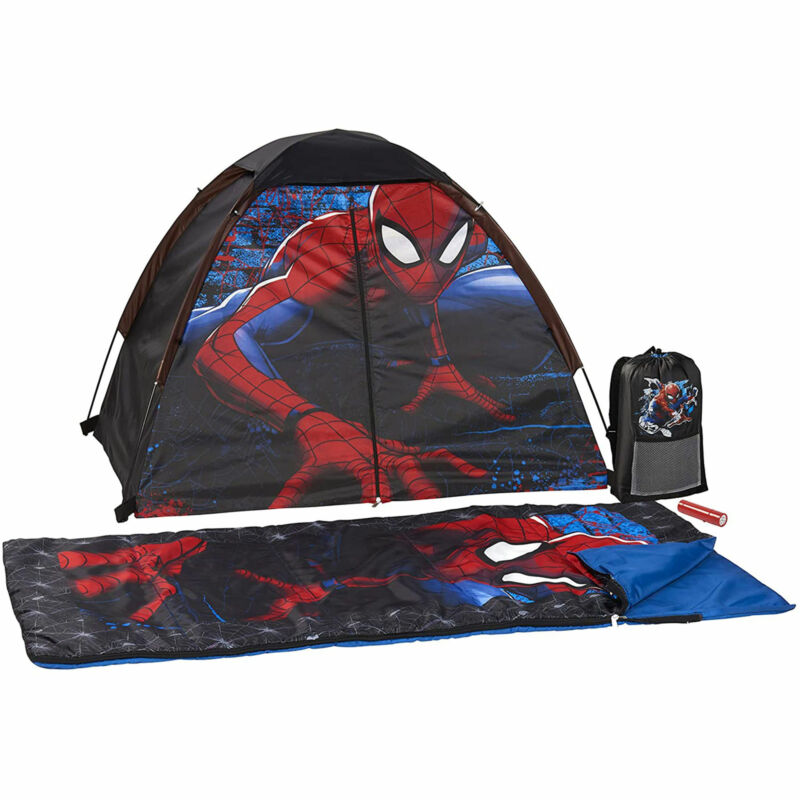 Exxcel Marvel Spiderman 4 Pc Camping Kit with Tent and Sleeping Bag (Open Box)