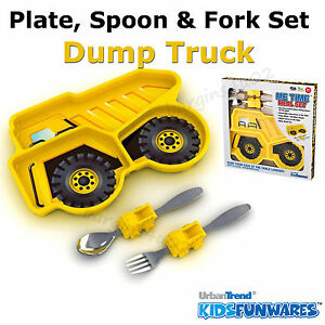 Kids Children's Boys Dump Truck Cutlery & Plate Dinner Set, Spoon Fork - Boxed