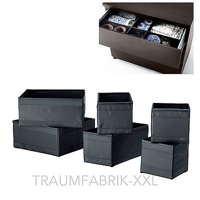 Großen Schwarzen Aufbewahrungsbox (IKEA 6er Set Aufbewahrungsboxen SKUBB Regaleinsätze je 2x in 3 Größen schwarz)