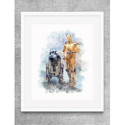 STAR WARS R2-D2 CP30 8 X 10 PRINT WATERCOLOR HOME WALL DECOR GIFT
