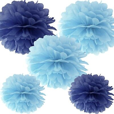 Pom Poms (5 Stück) - hellblau & blau Dekoration Geburtstag Hochzeit Taufe Party