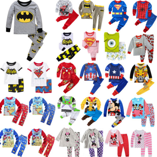 Bambini Boyss Ragazze Cartoon Pigiama Top e Pantaloni Pjs Notte Abbigliamento