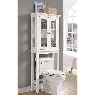 Scarsdale Over-Toilet Home Bathroom Wood Storage Shelf Cabinet w/Glass- White Wht Bath Cabinet