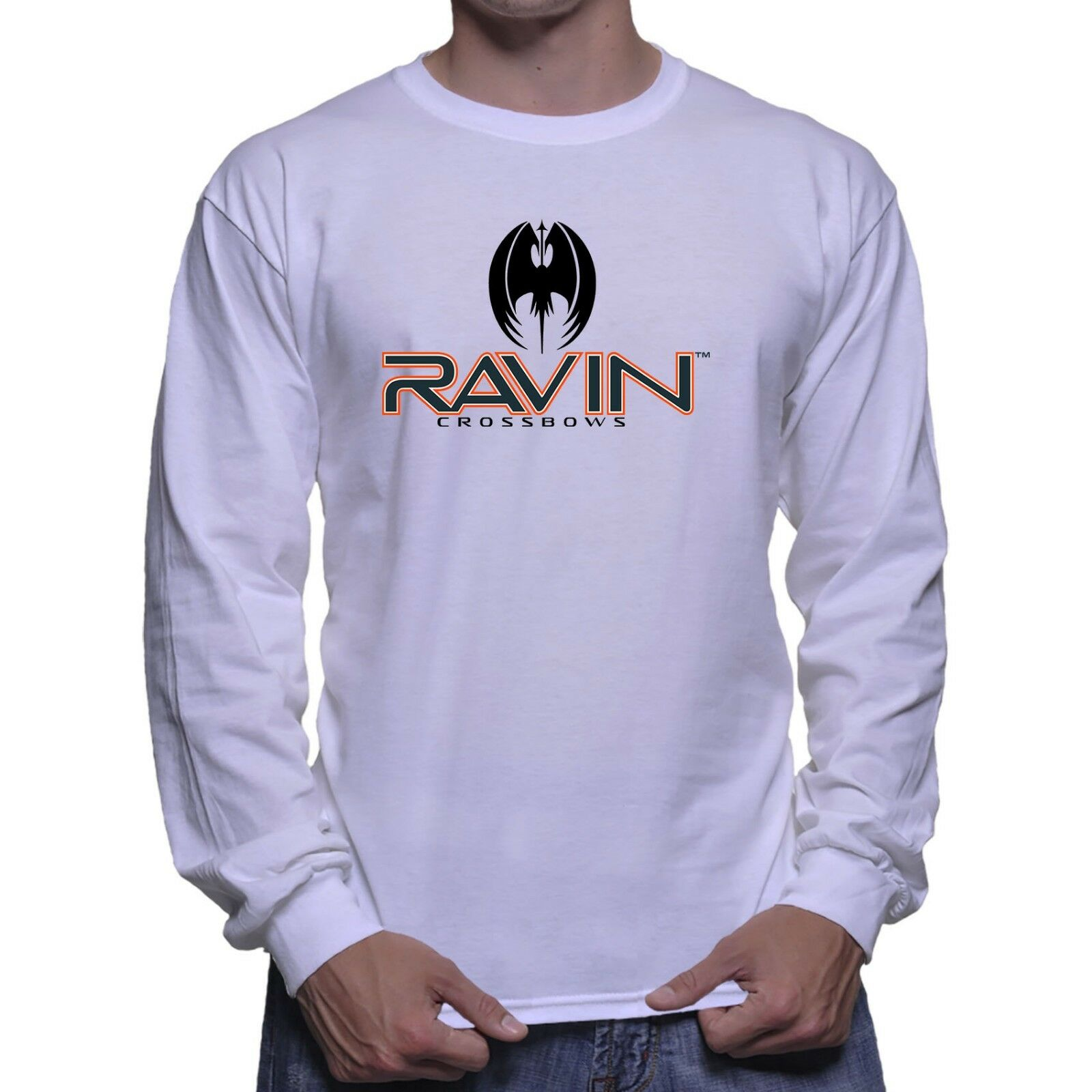 Ravin Crossbow Deer Hunting Long Sleeve White T-shirt Size S