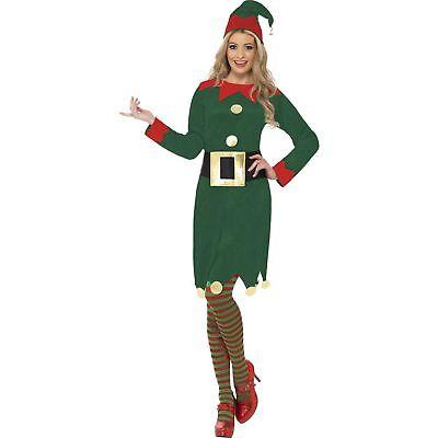 Elf Costume Christmas Festive Seasonal Santa Women's Fancy Dress Costume (Elf Dress Costume)