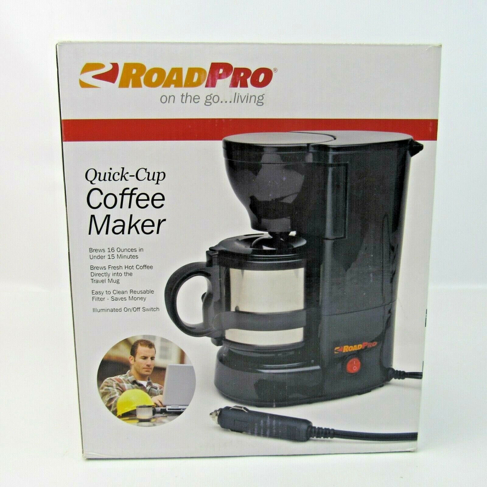 Road Pro Quick-Cup Coffee Maker Car RV Truck Brewing Machine NEW Model RPSC784 - $34.99