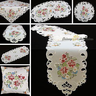 Rosen Mitteldecke Tischläufer Tischdecke Kissenhülle Serie Weiß Rosa Stickerei