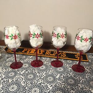 Set of 4 - Hand painted Wine Glasses