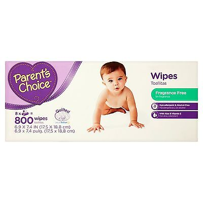 Parents Choice Fragrance Free Baby Wipes 800 Sheets