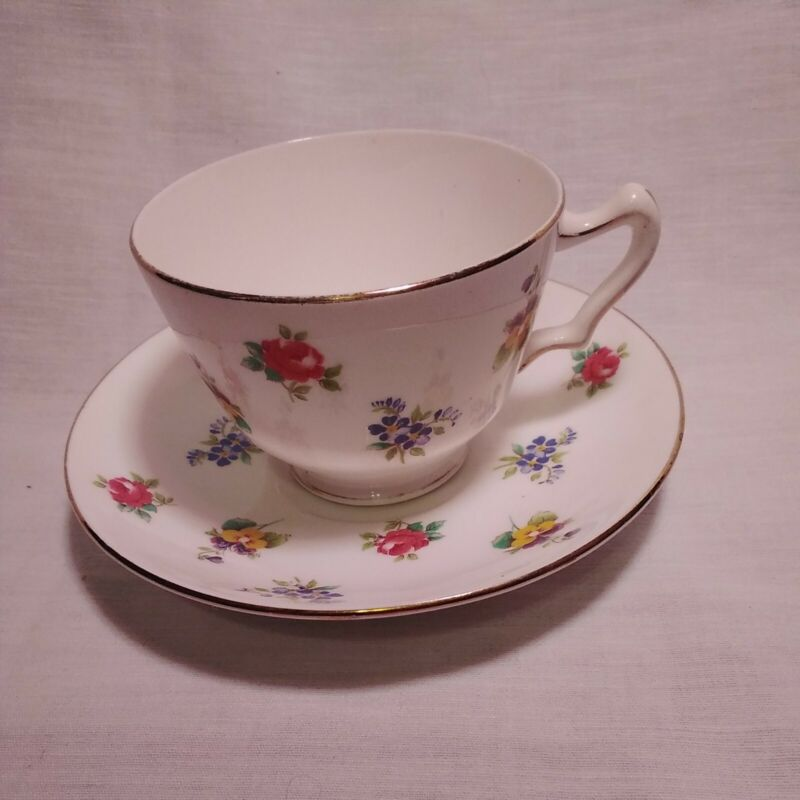 Vtg Crown Staffordshire Flowers Bone China Tea Cup & Saucer