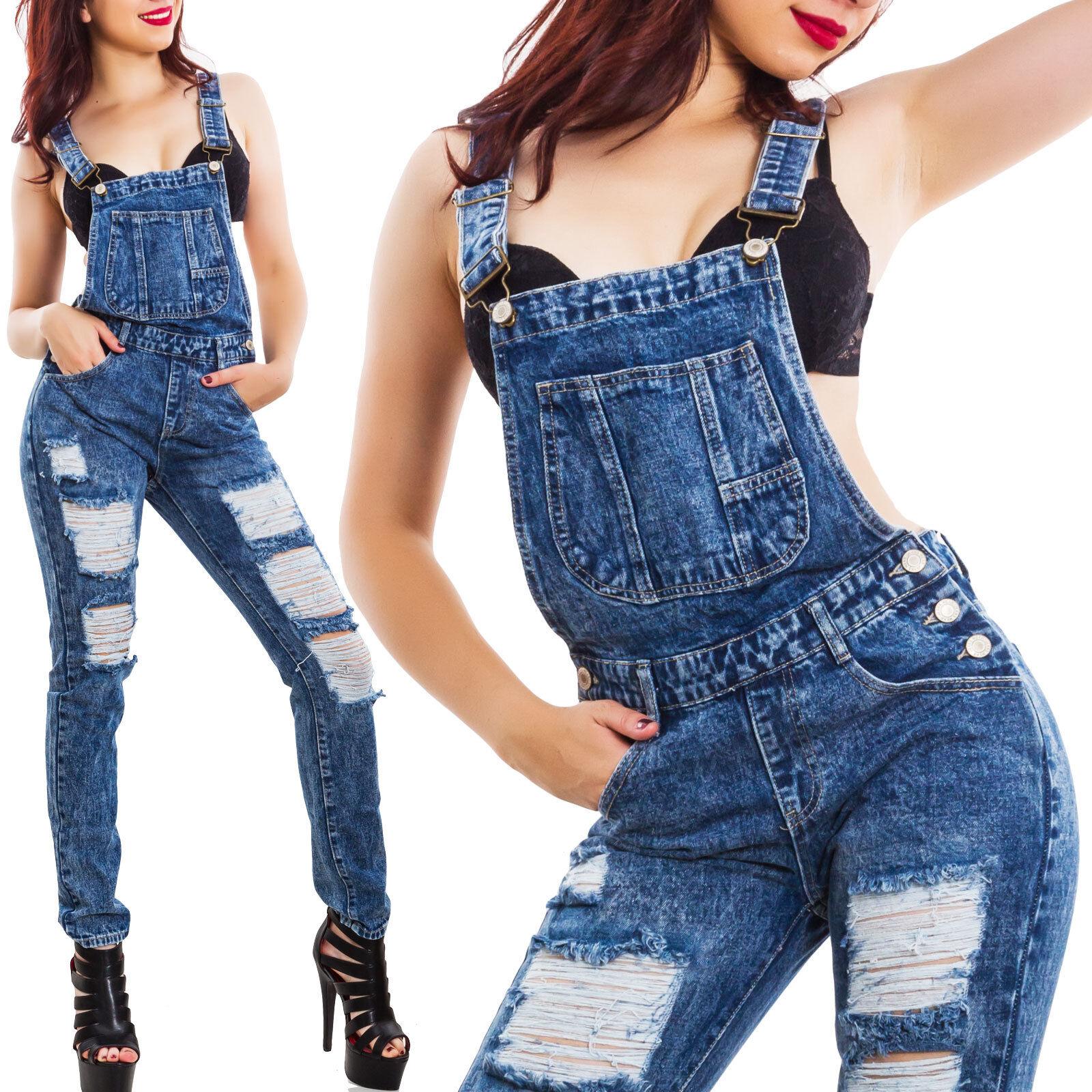 412d9daab049 Salopette donna jeans overall skinny tutina intera strappi tagli hot ...