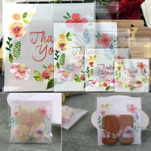 100pc Clear Plastic Gift Bags Thank You Candy Cookie DIY Sel