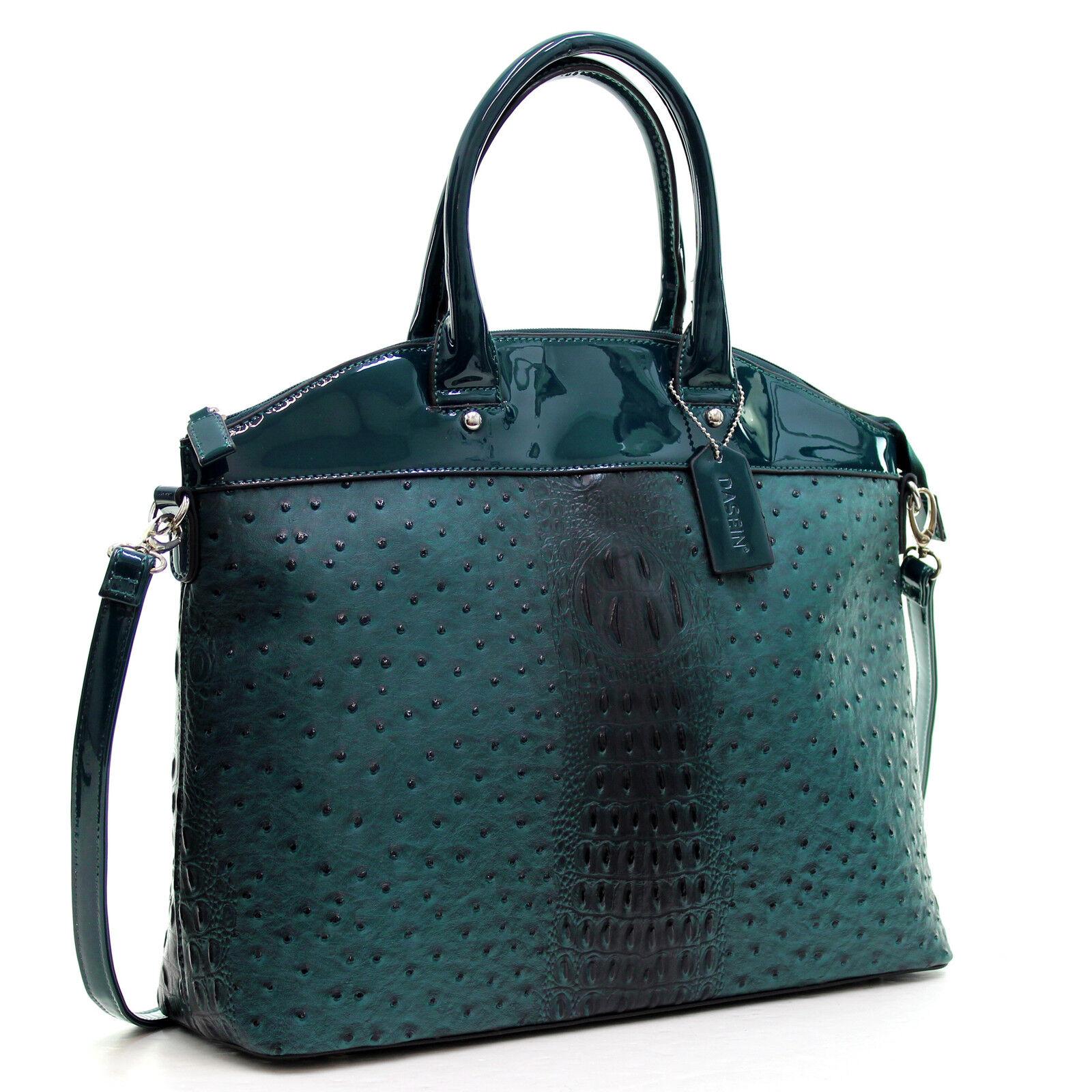 Dasein Womens Handbags Ostrich Faux Leather Tote Shoulder Ba
