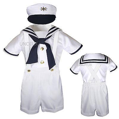 Baby Boy Toddler Formal Party Nautical Sailor Suit Outfits SZ: S M L XL2T 3T 4T  (Male Sailor Outfit)