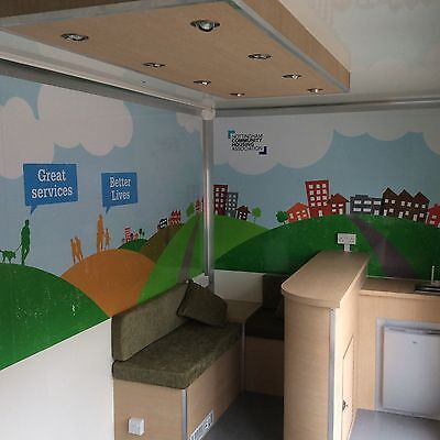 Our Community support exhibition trailers have welcoming & informal interior designs
