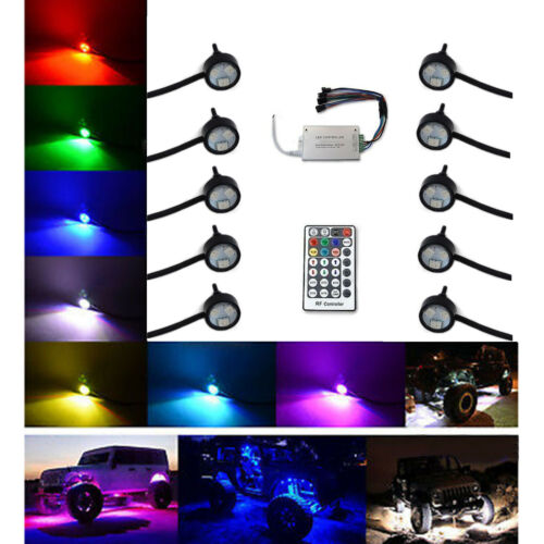 Multi-Color Changing LED Shift RGB SMD Rock Light Set of 10 For Jeep Truck SUV