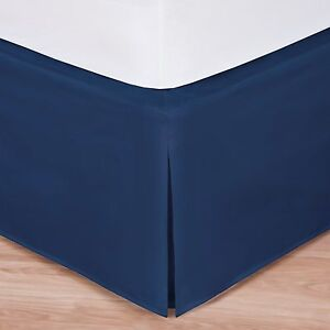 Navy luxury hotel bed skirt tailored pleat 14 drop for Luxury hotel 660 collection bed skirt