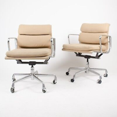 Eames Herman Miller Soft Pad Aluminum Group Desk Chair Tan Hopsack Late 90's 8x, used for sale  Hershey