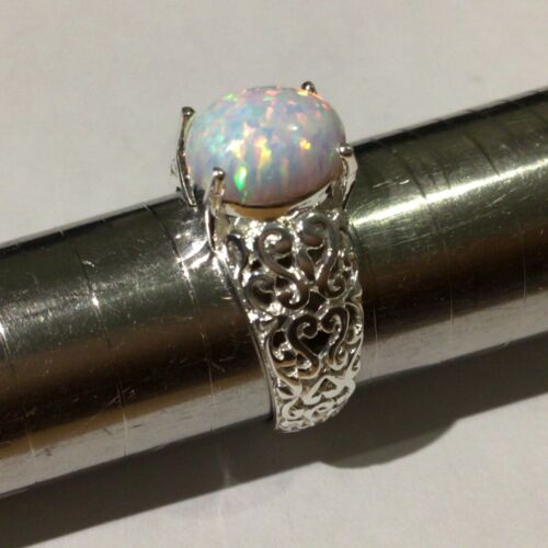Antique style filigree openwork Oval Cabochon Fire Opal Ring Sterling Silver N 7