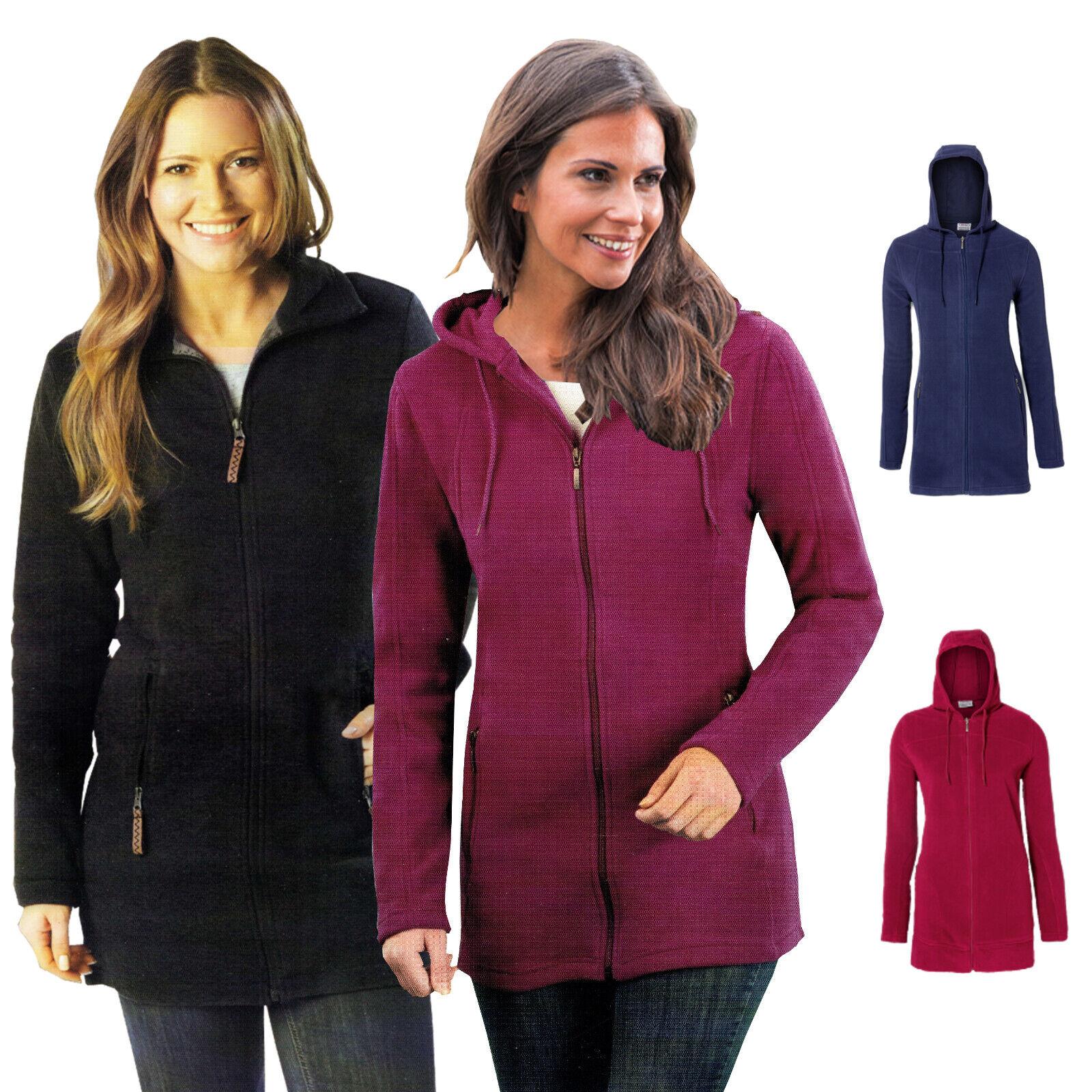 Damen Komfort Fleece-Jacke Kapuze mit Kordelzug Reißverschluss tailliert Öko-Tex