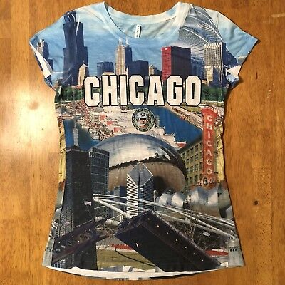 Chicago Women's Novelty T-Shirt Large Skyline Attractions City - City Novelties
