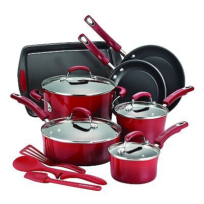 14 Piece Non Stick Cookware Set Kitchen Pots And Pans Red Rachel Ray Hard Enamel