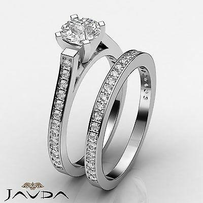 4 Prong Bridal Set Round Diamond Engagement Ring GIA F Color VS2 Clarity 1.57Ct