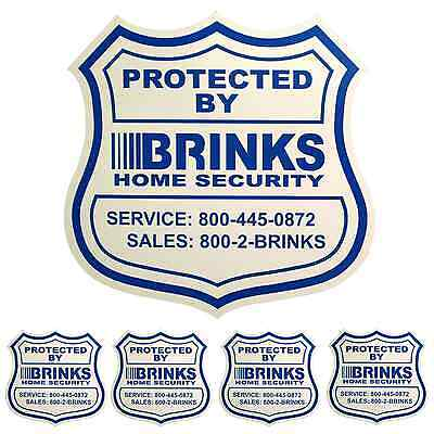 1 Home Security Yard Sign And 4 Stickers   Decals For Doors Windows Adt Brinks