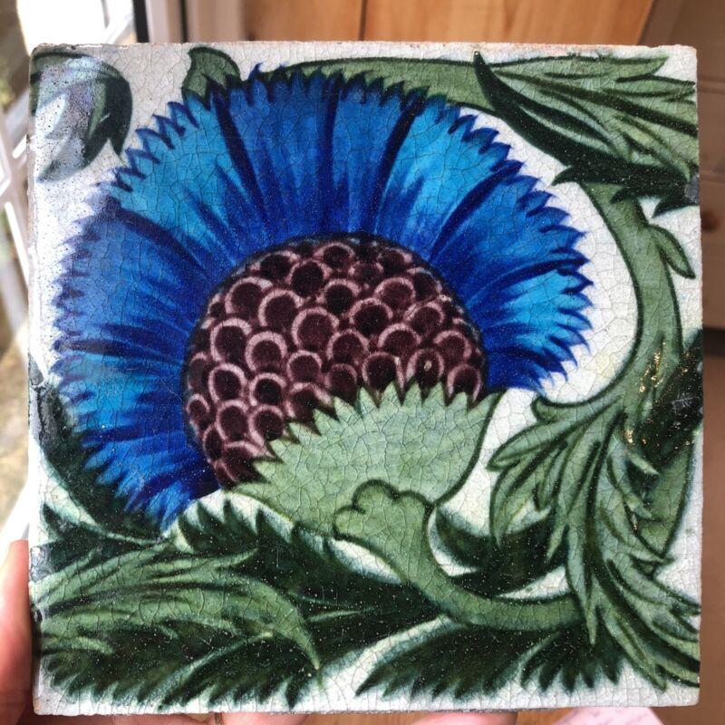 Original Antique William De Morgan BBB 6inch Pattern Tile Beautiful Condition