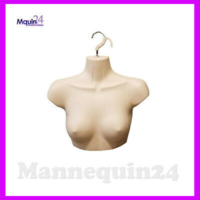 Female Chest Torso Dress Form With Hanger - Flesh Mannequin