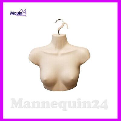 Female Chest Torso Dress Form With Hanger - Flesh Mannequin