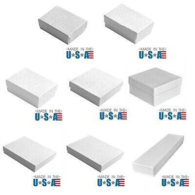 Premium White Swirl Cotton Filled Jewelry Cardboard Box Lots of 100~200~500