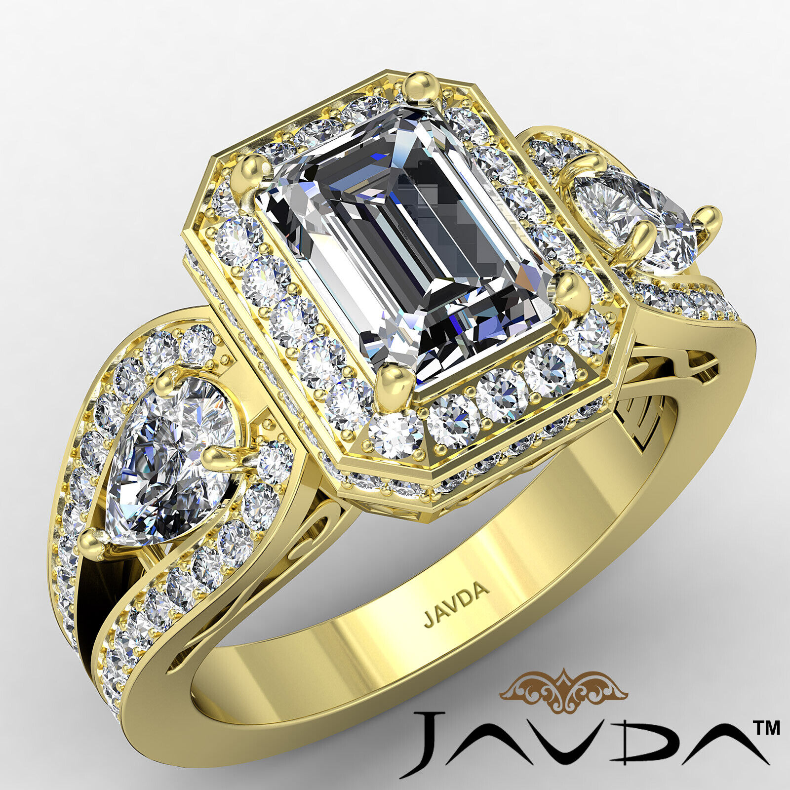 Halo Emerald Diamond Engagement Ring GIA Certified J Color & VS2 clarity 2.85ctw 1