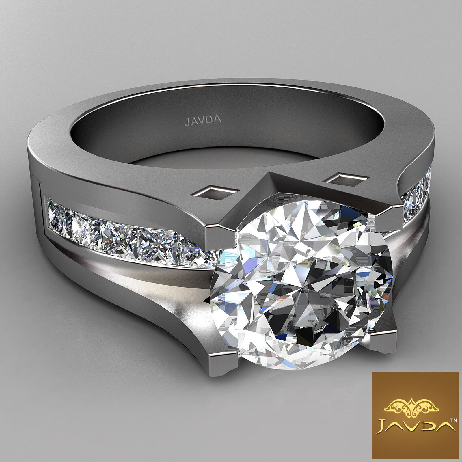 2.35ct Round Diamond Ideal Engagement GIA F VS1 14k White Gold Channel Set Ring 1