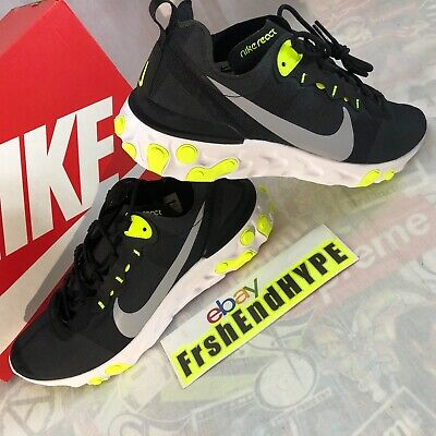 Nike React Element 55 Size 11.5 Black Volt Yellow Running Shoes Trainers NIB