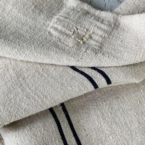 Black GRAINSACK GRAIN SACK fabric linen homespun European stripe bag feed