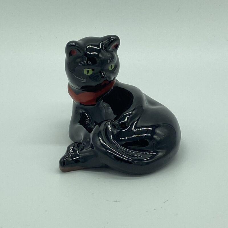"Vintage Redware Art Pottery Black Cat Halloween Green Eyes Laying Down 2.5""x3.5"""