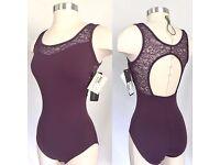 Size L /& XL NWT Black So Danca Ladies Sleeveless Textured Insert Leotard