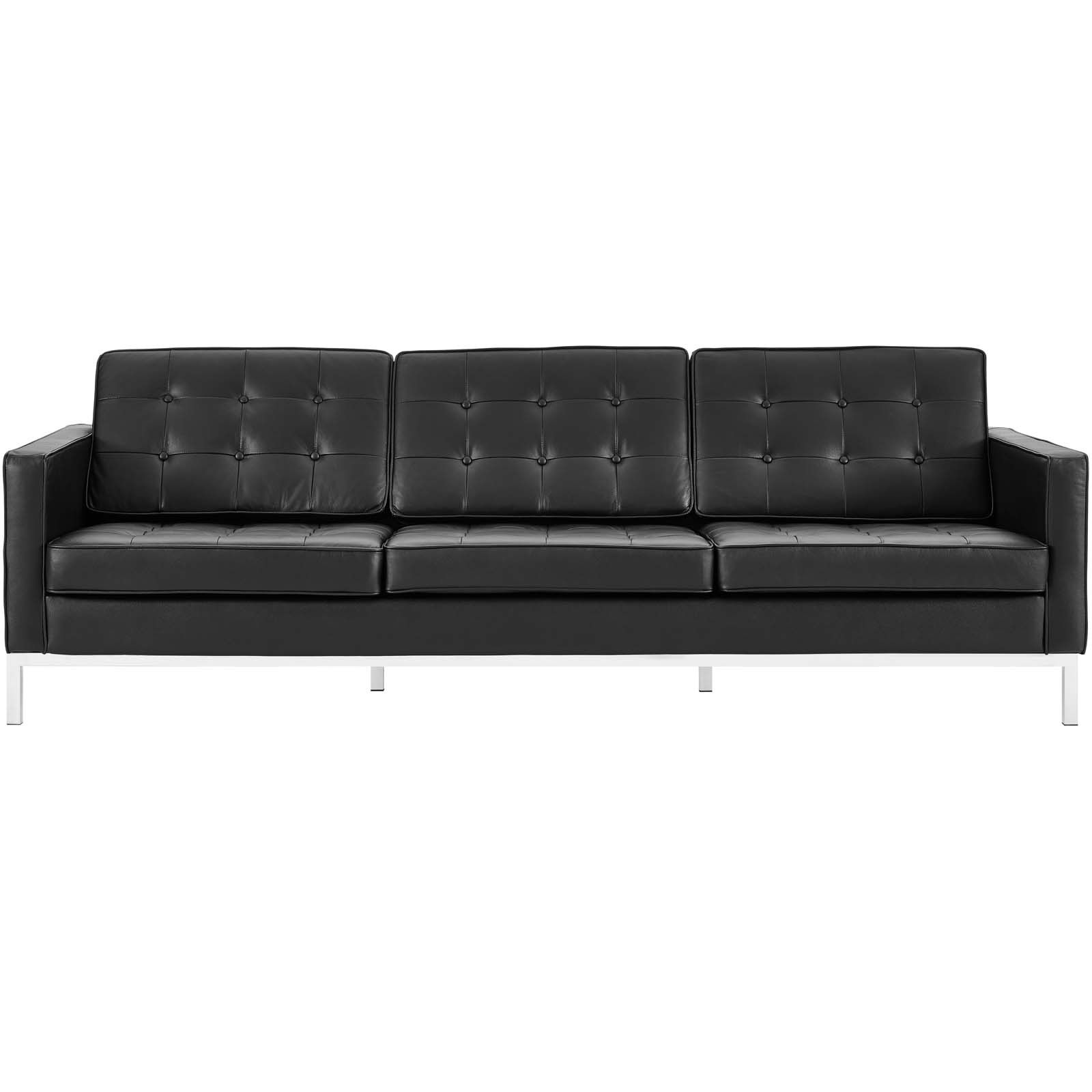 Details about Modway Loft Upholstered Genuine Leather Mid-Century Modern  Sofa In Black
