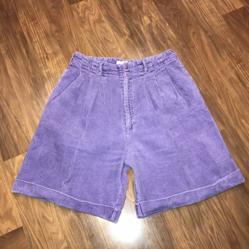 Vtg 80s PURPLE Generalites CORDUROY Shorts CORD retro High Waisted WOMENS 12