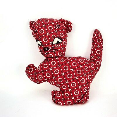 VTG 1940s 50s Kitty Cat Plush Toy Handmade Pattern Cloth Material Textile Fabric