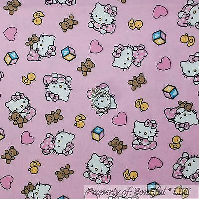 BonEful Fabric FQ Cotton Flannel Quilt Pink BABY Girl S Hello Kitty Heart Flower ()