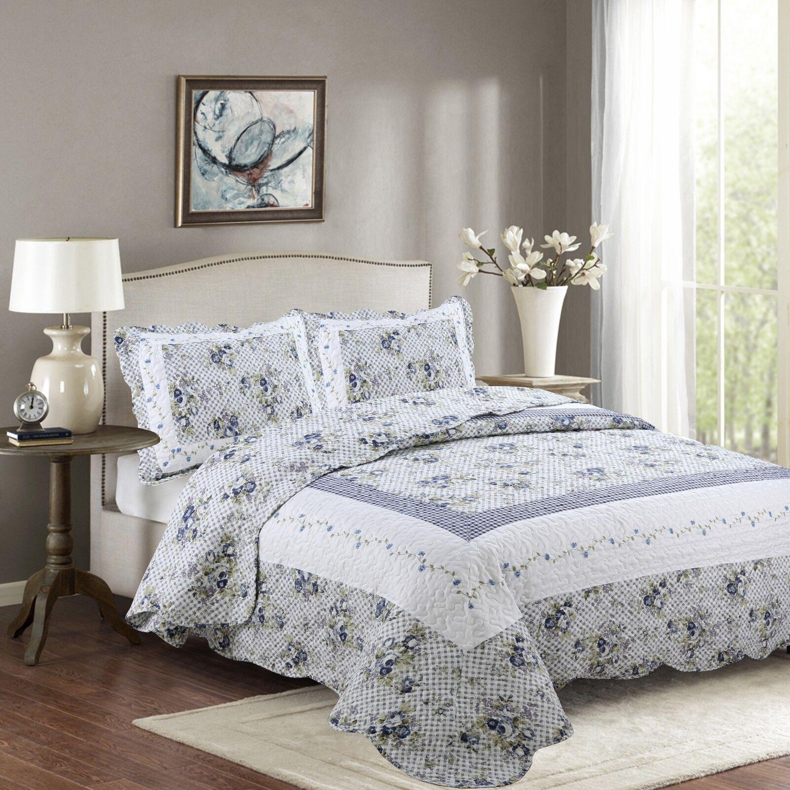 Fancy Linen Reversible Bedspread Floral White Blue Green All